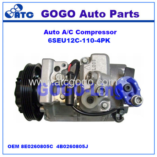 6SEU12C Auto A/C Compressor for AUDI A4 / A6 / VW POLO OEM 8E0260805C