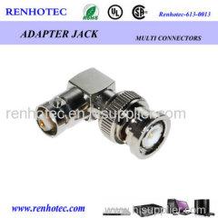 90 degree RF series BNC plug to BNC jack connector