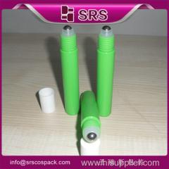 manufacturer hot sale 15ml green empty plastic roller bottle for eye cream