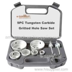Tungsten Carbide Grit Hole Saws with Continous edge/9pcs Carbide Grit Hole Saw Set