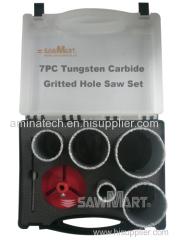 7PC Carbide Coated Hole Saw Set/Tungsten Carbide Grit Edge Hole Saw Set