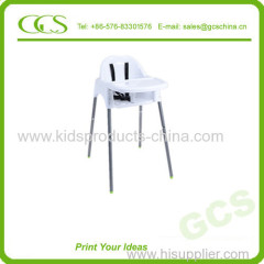 White 2 in 1 Multu-Function Plastic Child Furniture Kids Dining High Chair