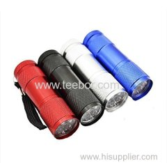 Lifeforce 9 Led Aluminum handheld Flashlight Torch Four Color Great Mini Portable Light(AAA battery type)