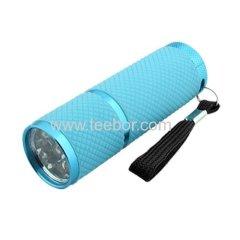 9 LED White Light Portable Handy Flashlight Torch Blue