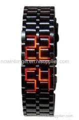 metal lava led watch