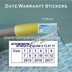 custom fragile date warranty stickers for screw seal stickers