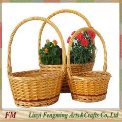 Fashionable Round large popular wicker willow flower basket with handles