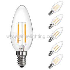 LED filement bulb 2W 200lm E14 LED candle lamp 360°
