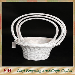 3pcs white wedding willow baskets flower wicker basket