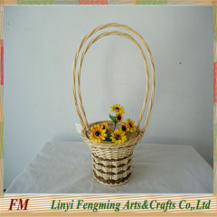 Europe style 2pcs Natural pure handmade wedding flower willow basket with long handle