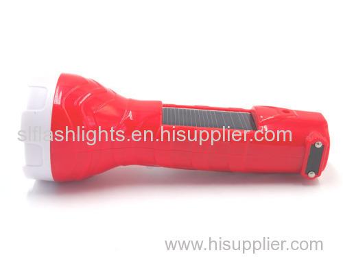 Plastic Solar LED Rechargeable Flashlight