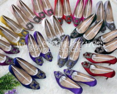 WHOLESALE HIGH QUALITY MB HANGISI CRYSTAL BUCKLE SATIN PUMP