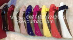 WHOLESALE BRANDNAME BOW DETAIL BALLERINA REAL LEATHER SHOES SHINING PATENT SHOES
