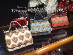 SUPLLY OFFER DG SICILLY PRINT BAG LEATHER TOTE PURSE HIGH QUALITY
