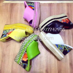 WHOLESALE REAL LEATHER FLORAL WEDGE BLACK PINK YELLOW GREEN WHITE