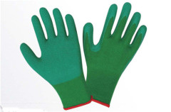 Work green yarn green latex gloves Labour protection glove with wrinkles High friction slip Double thickening