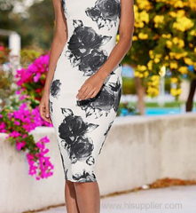 2015 wholesale polyester and eslastane clasic florals casual dress white multi China factory supplier