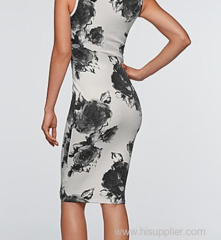 2015 wholesale polyester and eslastane flora print casual dress China factory supplier OEM service