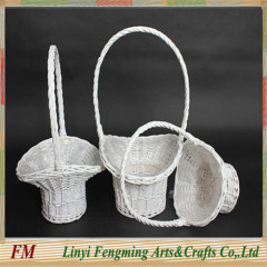 Folk art white willow flower basket with high quality