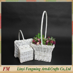 white flower wicker willow gift basket with handle in Europe