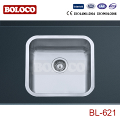 Italy High Quality Matt Single bowl One piece rectangle/Square Kitchen Sink 304# Bowl Corner Angle R60 BL621