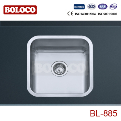 Spain High Quality Matt Single bowl One piece rectangle/Square Kitchen Sink 304# Bowl Corner Angle R60 BL885