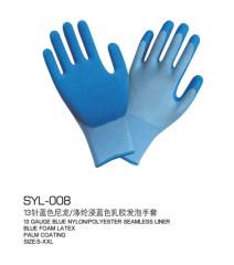 13 knit blue nylon gloves Blue nylon polyester foam latex gloves