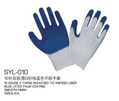 10ダブル漂白ゴム手袋白沙郡ブルーグルー労働保護手袋メーカー、卸売