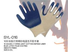 10 de travail fils protection gant à tricoter coton léger Porter des gants antidérapants bleu en latex
