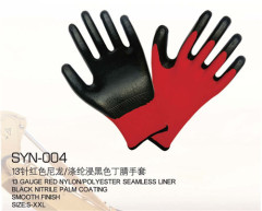 Black nitrile rubber gloves Nylon 13 needle nylon gloves nitrile gloves