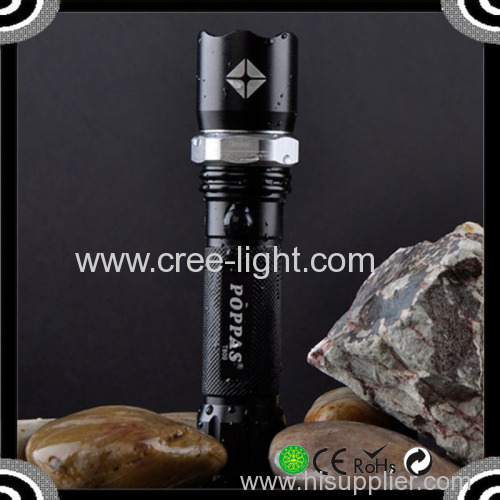 Cheap Sale POPPAS T809 3W Stronger Light Police Zoomable led flashlight