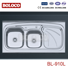 Iran Middle Polish/Satin/Ele-pearl Double bowl Single drainer Welding rectangle/Square Sink 304# BL910L