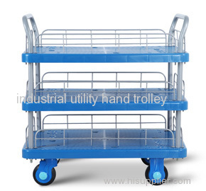 Three Layers Plastic Mute Handcart with wheels heavy duty material moving trolley