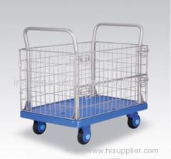 Mute plastic storage cage handcart