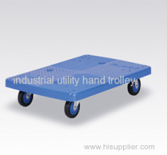 Mute plastic platform utility flat cart light duty material moving trolley