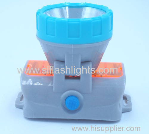 Outdoor Plastic 2LED Head Flashlight 3*AAA Dry Battery