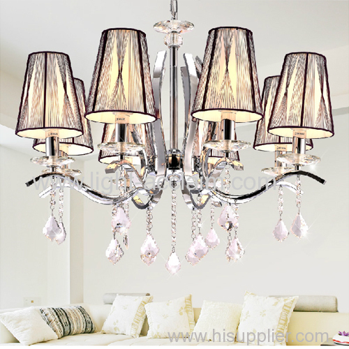 Modern minimalist iron crystal lamp fabric pendant lighting pendant lights with cloth shade