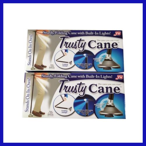 Trusty Cane As Seen on TV LED Light Foldable Triple Head Pivot Base Trusty Cane