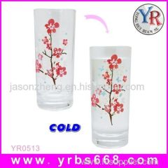 Color changing glass tumbler cup