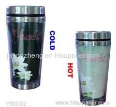 Doublel wall stainless steel color changing tumbler