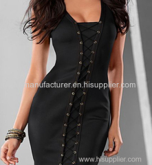 2015 new style wholesale polyester elastane lace up corset inspired sexy club women dress factory supplier