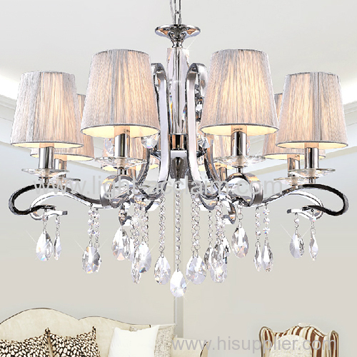 European fabric chandelier lamp fabric hotel pendant lamp fabric shade modern crystal wall lamp