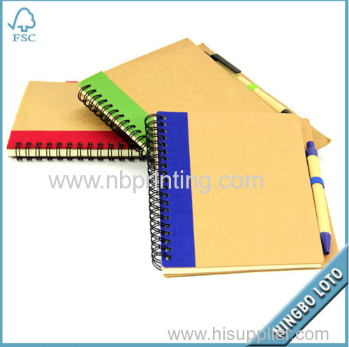 Eco-Friendly Spiral Small Recycled Notebook with Pen