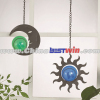 Outdoor hanging Moon Solar Light With Green Ball Sun With Blue Ball