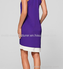 Polyester two in one O neck sweet purple color mini women wholesale plus size Dress 7XL