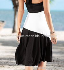Polyetser color block long attacked sashes multiple way wholesale plus size Dress
