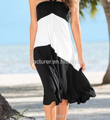 Polyetser black and white block cuasual middle dress wholesale plus size Dress oem service