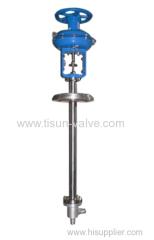 Pneumatic angle type low temperature control valve