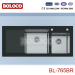 Matt Double bowl Single drainer rectangle/Square Kitchen Glass Sink 304# BL765BR
