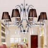 Fabric shade round pendant lamp modern fabric crystal pendant lamps pendant lights with cloth shade